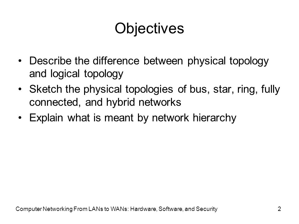 different between logical and physical topologies Distances between nodes, physical interconnections, transmission rates, and/or  signal types may differ between two networks, yet their topologies may be  identical  token ring is a logical ring topology, but is wired a physical star from  the.