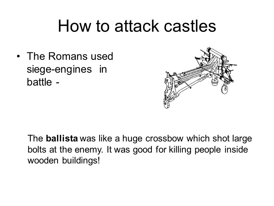 How to attack castles The Romans used siege-engines in battle -