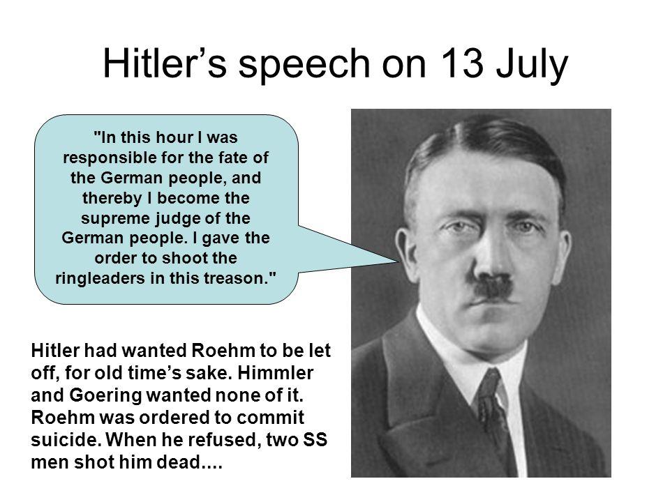 Hitler's speech on 13 July