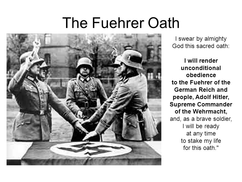 The Fuehrer Oath I swear by almighty God this sacred oath: