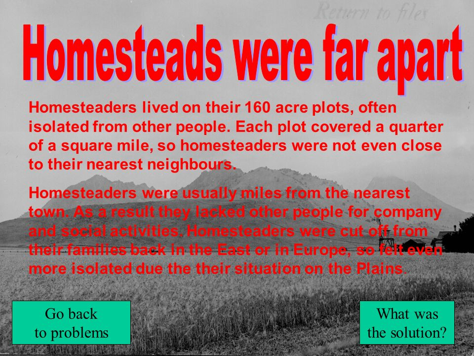 Homesteads were far apart