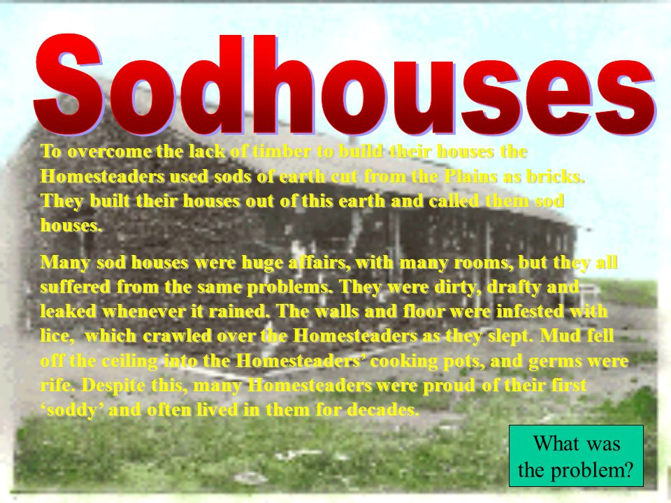 Sodhouses What was the problem
