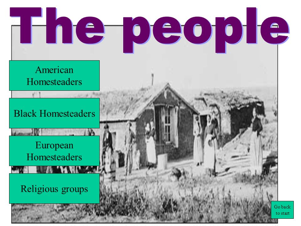 The people American Homesteaders Black Homesteaders European