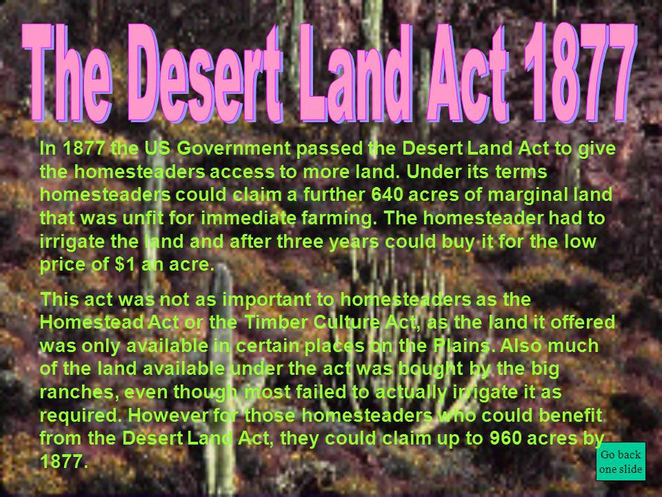 The Desert Land Act 1877