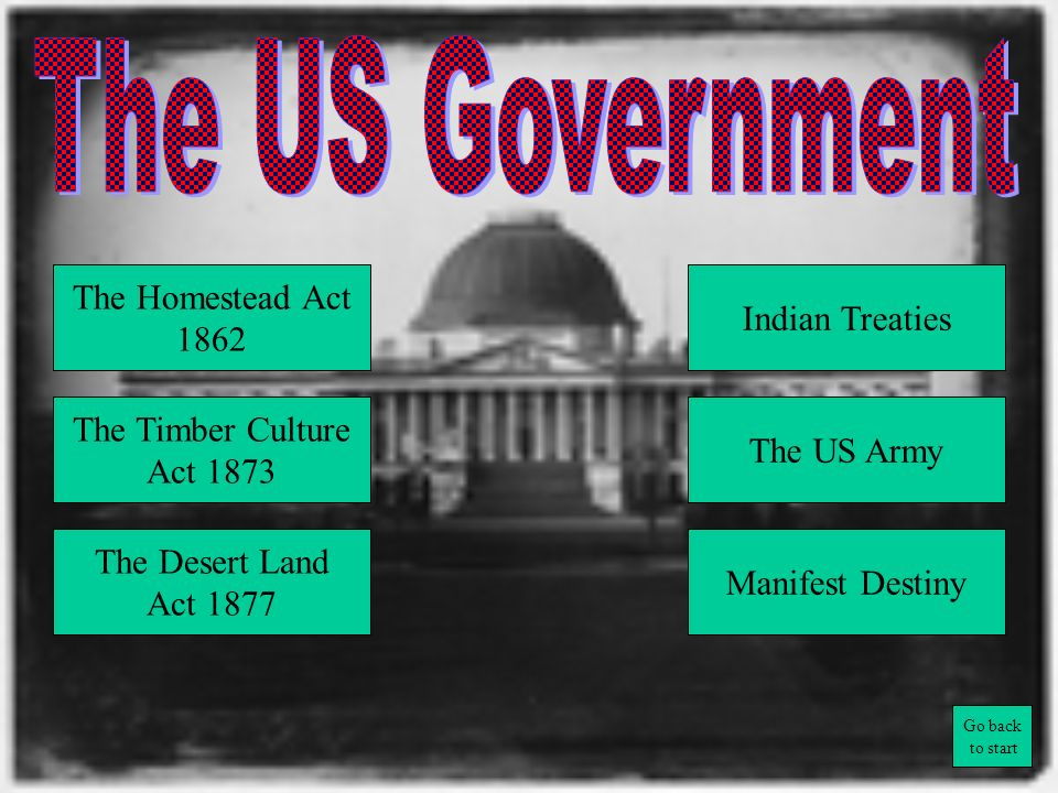 The US Government The Homestead Act Indian Treaties 1862