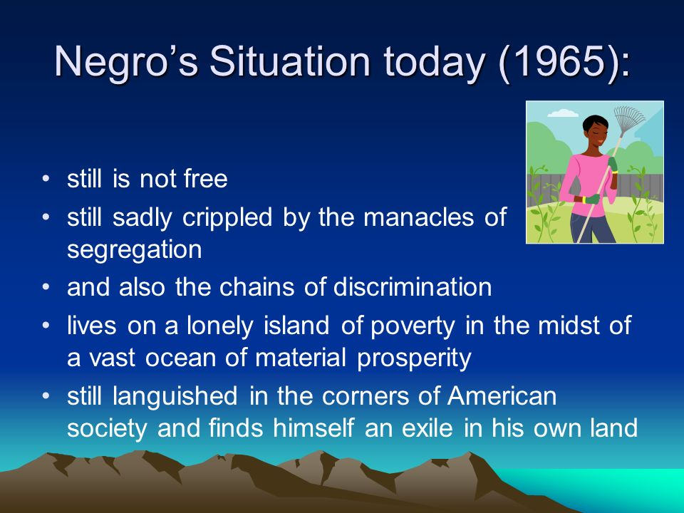 Negro's Situation today (1965):