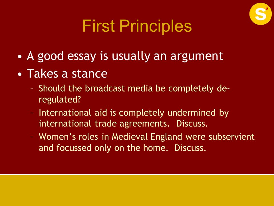essay writing structure ppt  first principles a good essay is usually an argument takes a stance