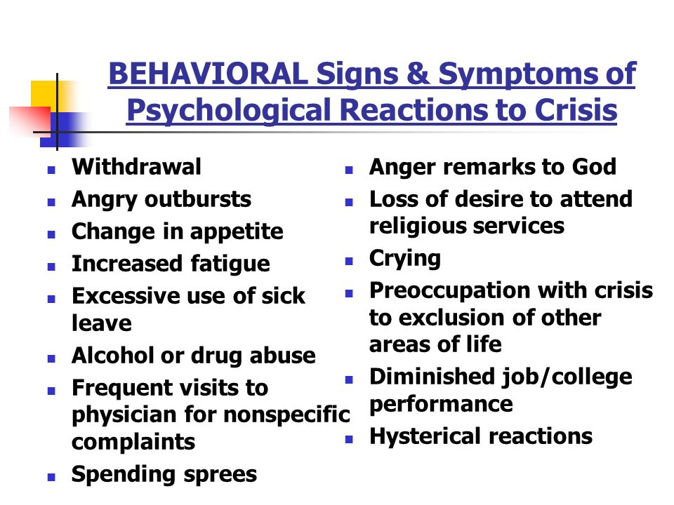 """behavioral reactions to change The term """"behavioral and psychiatric symptoms"""" describes a common contributing factor to behavioral symptoms or quieter place change."""