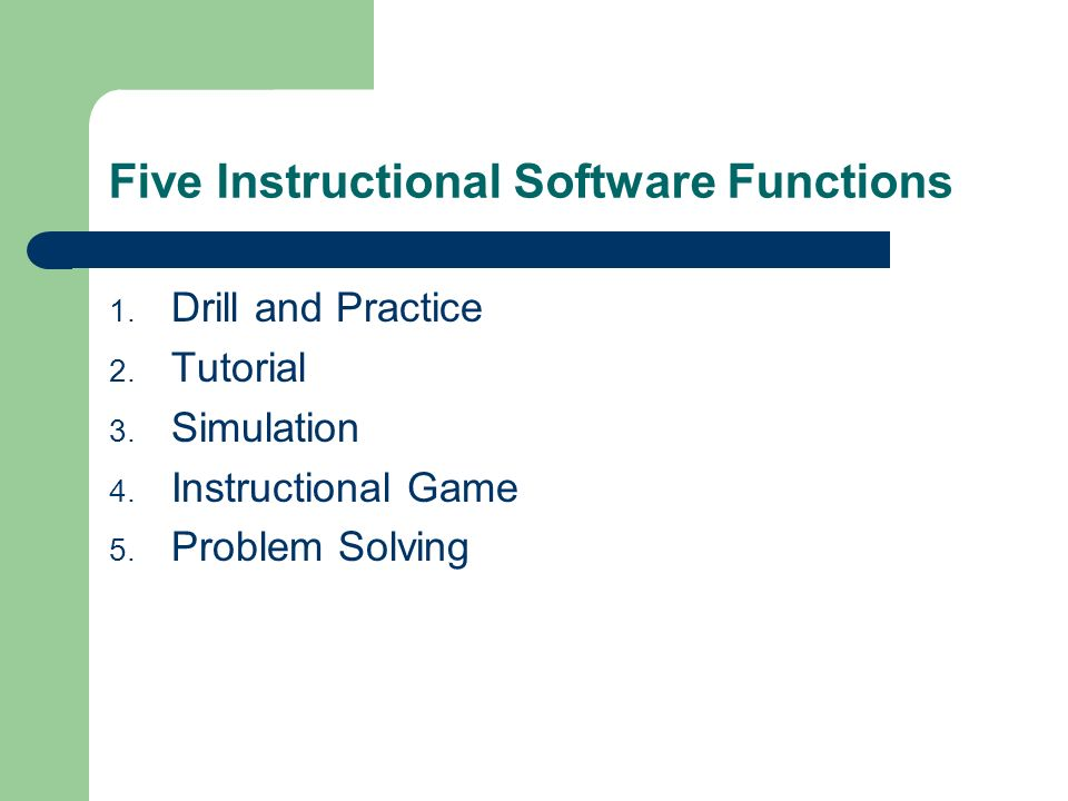 Five Instructional Software Functions