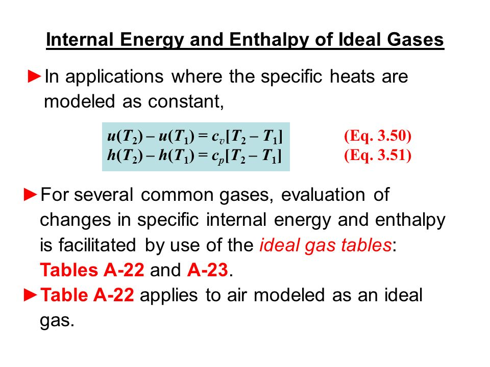 Good Internal Energy And Enthalpy Of Ideal Gases