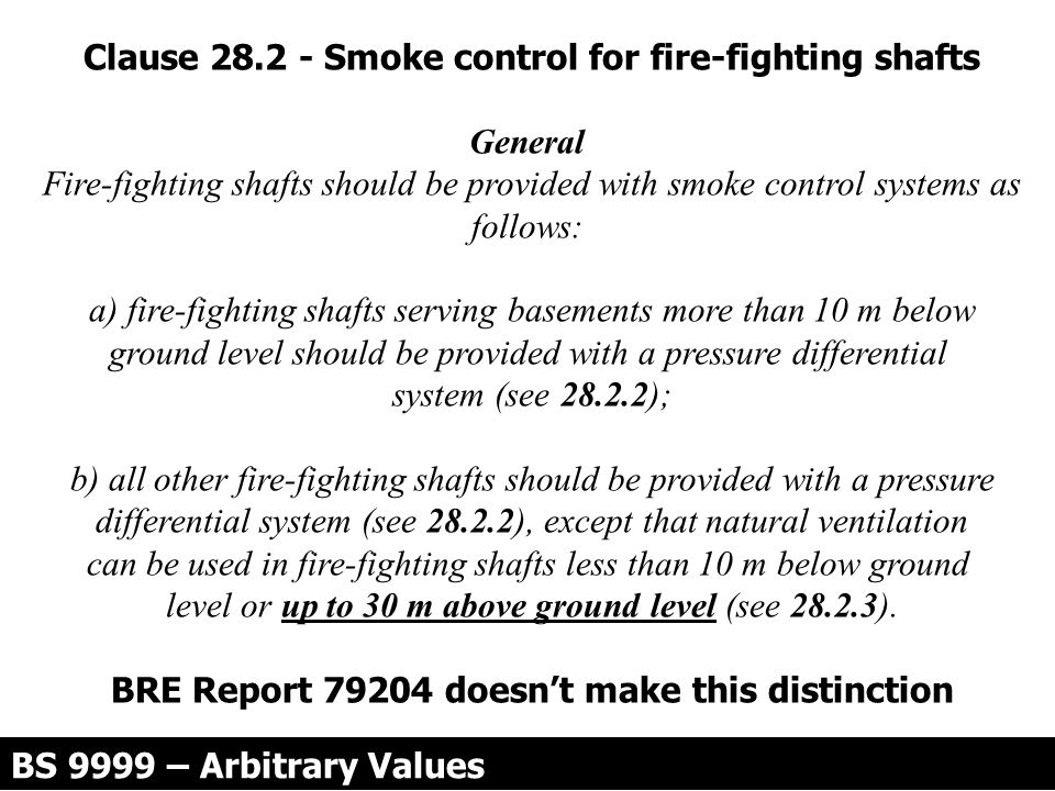Clause 28.2 - Smoke control for fire-fighting shafts General