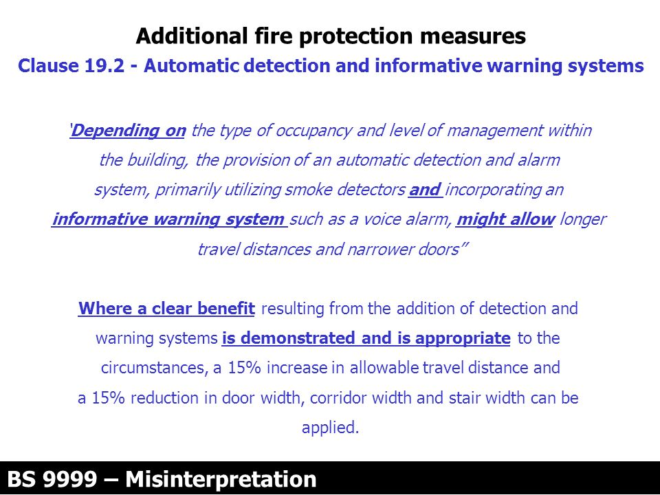 Additional fire protection measures