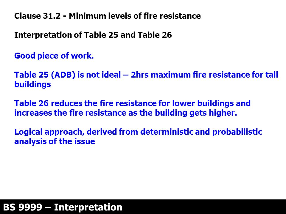 Clause 31.2 - Minimum levels of fire resistance
