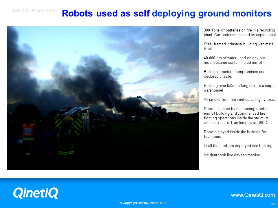 Robots used as self deploying ground monitors