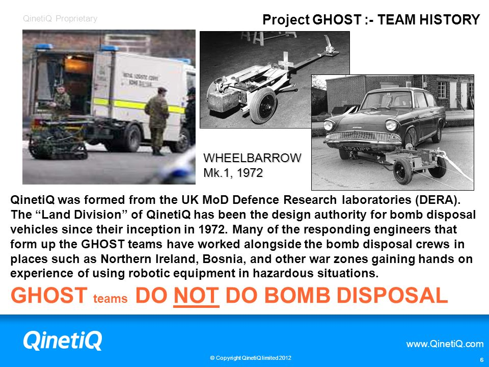 GHOST teams DO NOT DO BOMB DISPOSAL