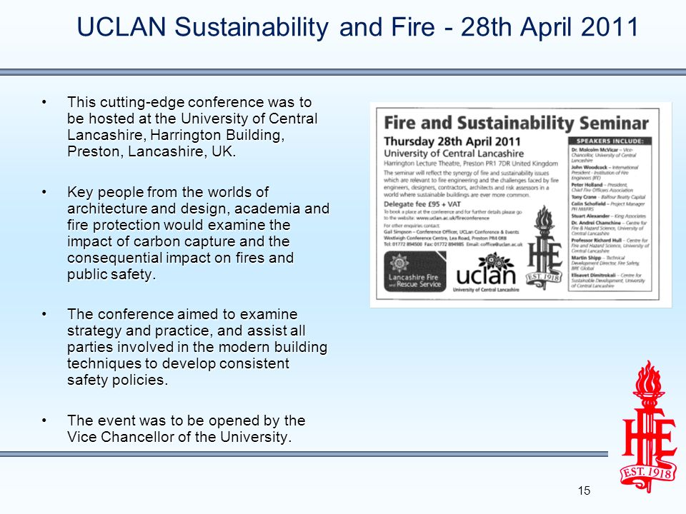 UCLAN Sustainability and Fire - 28th April 2011