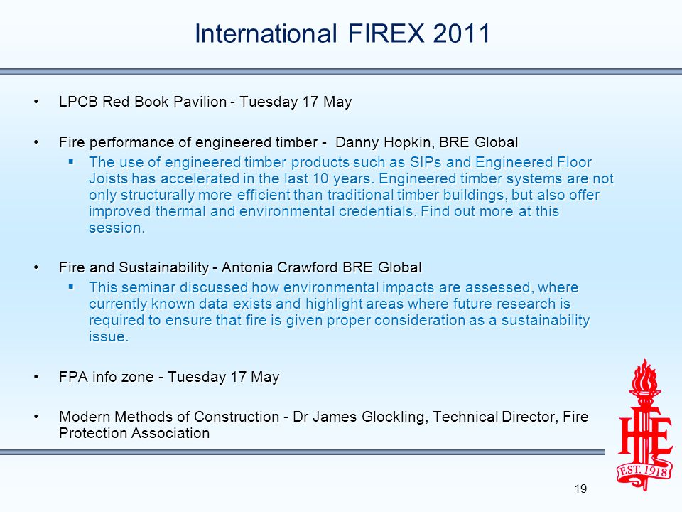 International FIREX 2011 LPCB Red Book Pavilion - Tuesday 17 May