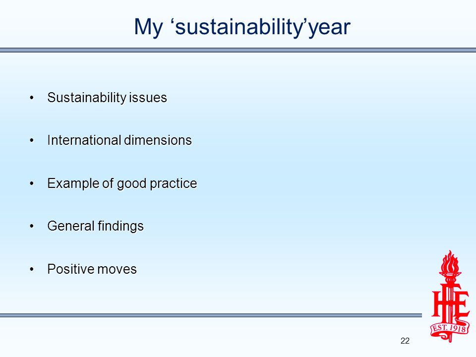 My 'sustainability'year