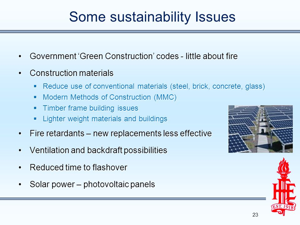 Some sustainability Issues