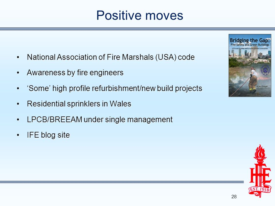 Positive moves National Association of Fire Marshals (USA) code