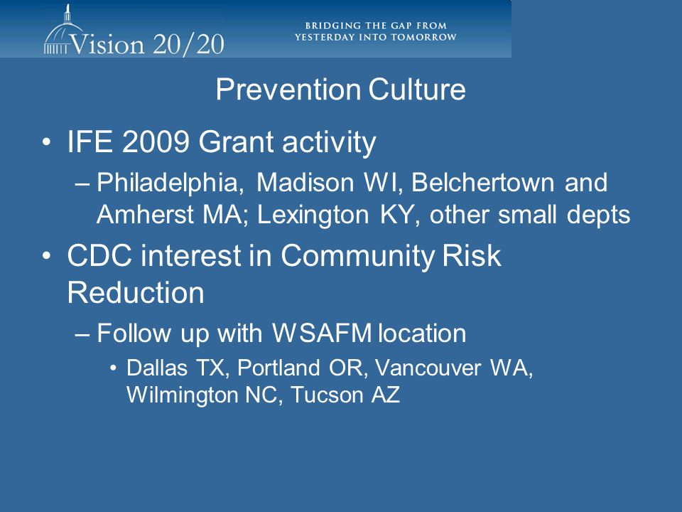 Prevention Culture IFE 2009 Grant activity