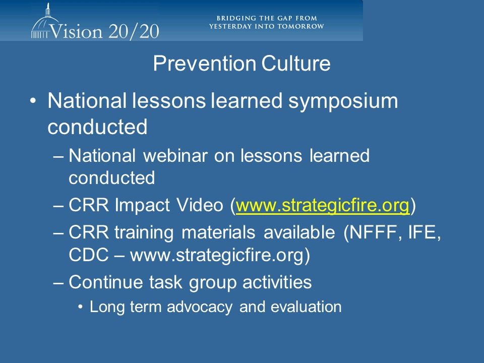Prevention Culture National lessons learned symposium conducted