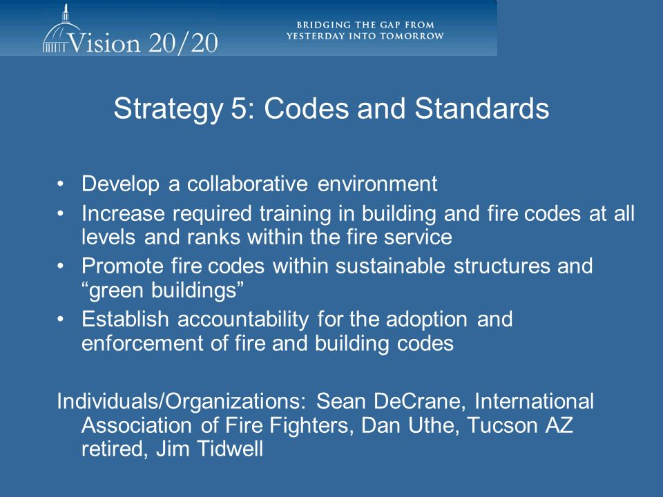 Strategy 5: Codes and Standards