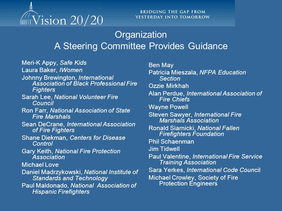 Organization A Steering Committee Provides Guidance