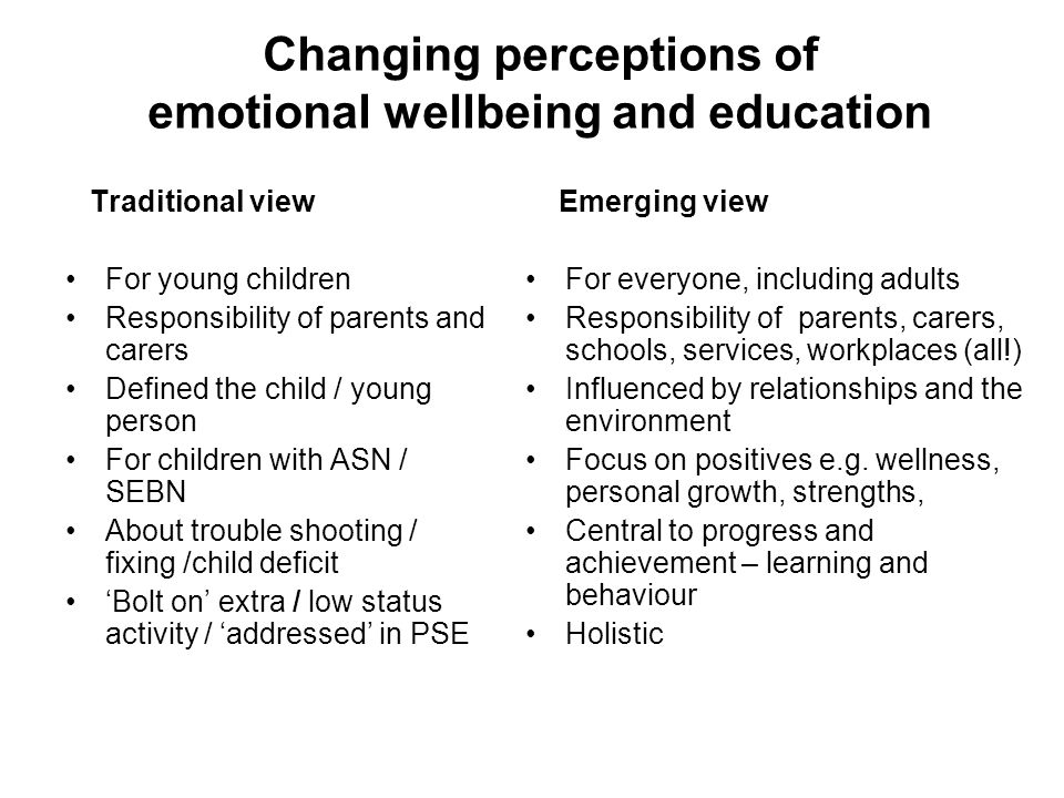 Changing perceptions of emotional wellbeing and education