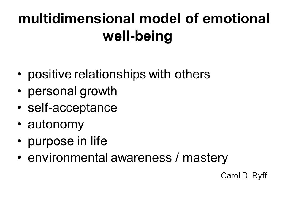 multidimensional model of emotional well-being