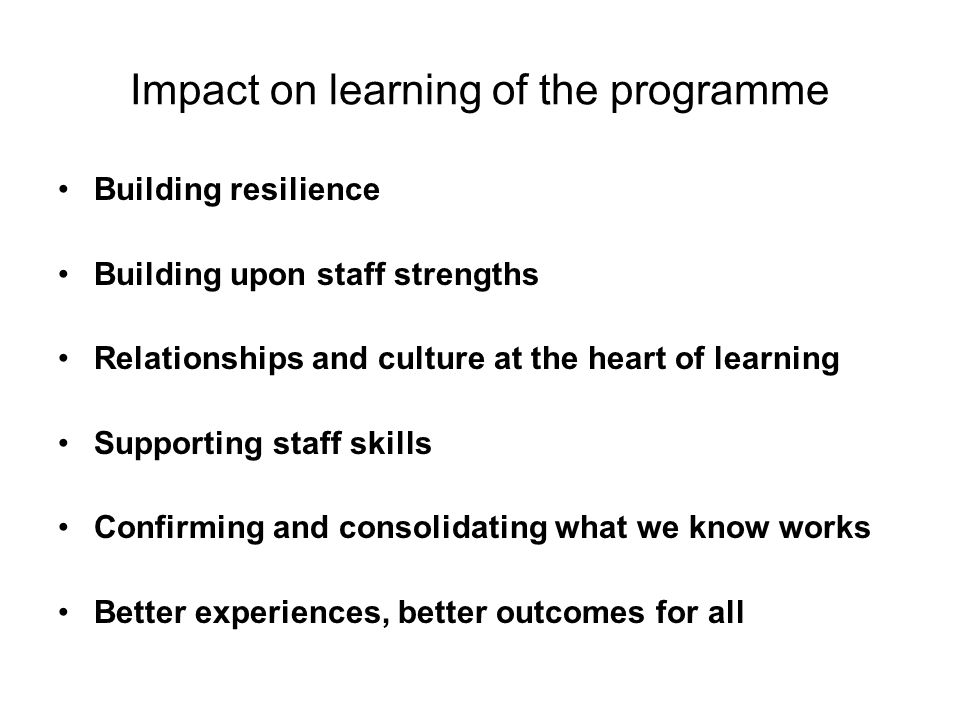 Impact on learning of the programme