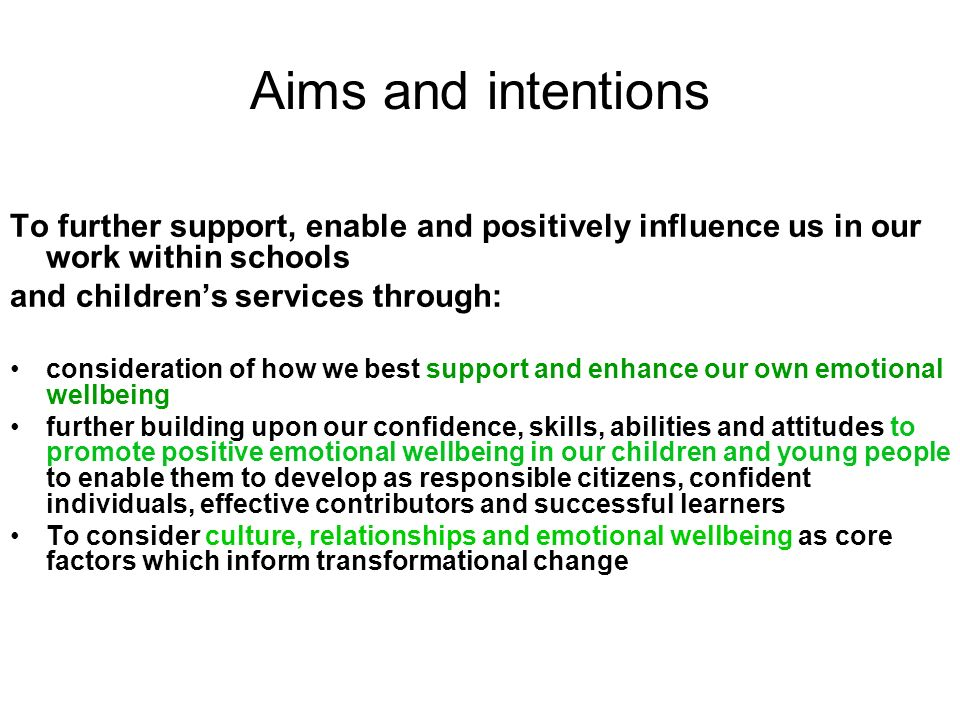 Aims and intentions To further support, enable and positively influence us in our work within schools.