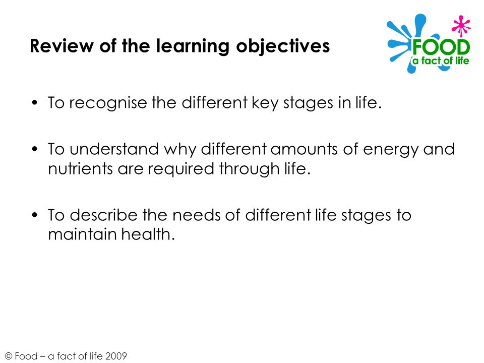 Review of the learning objectives