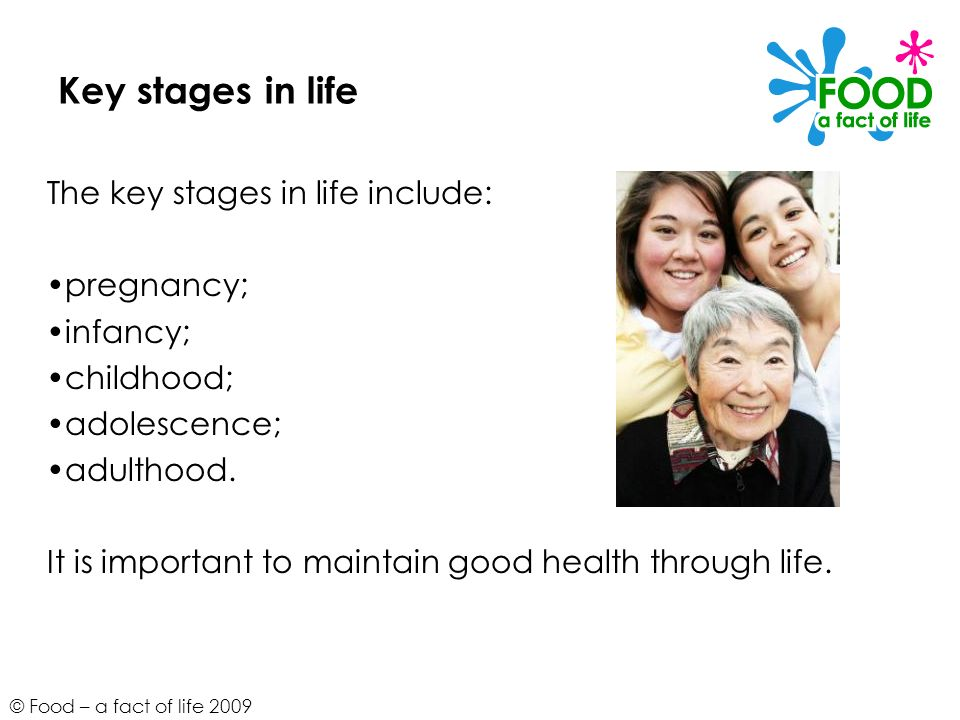 Key stages in life The key stages in life include: pregnancy; infancy;