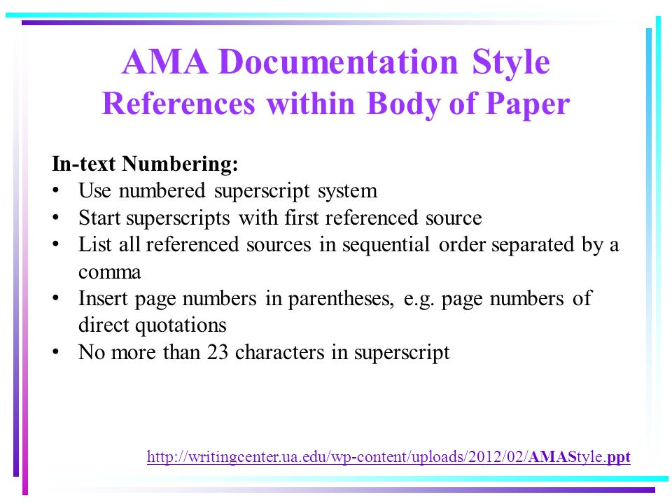 professional writing mercer university academic resource center  ama documentation style references in body of paper