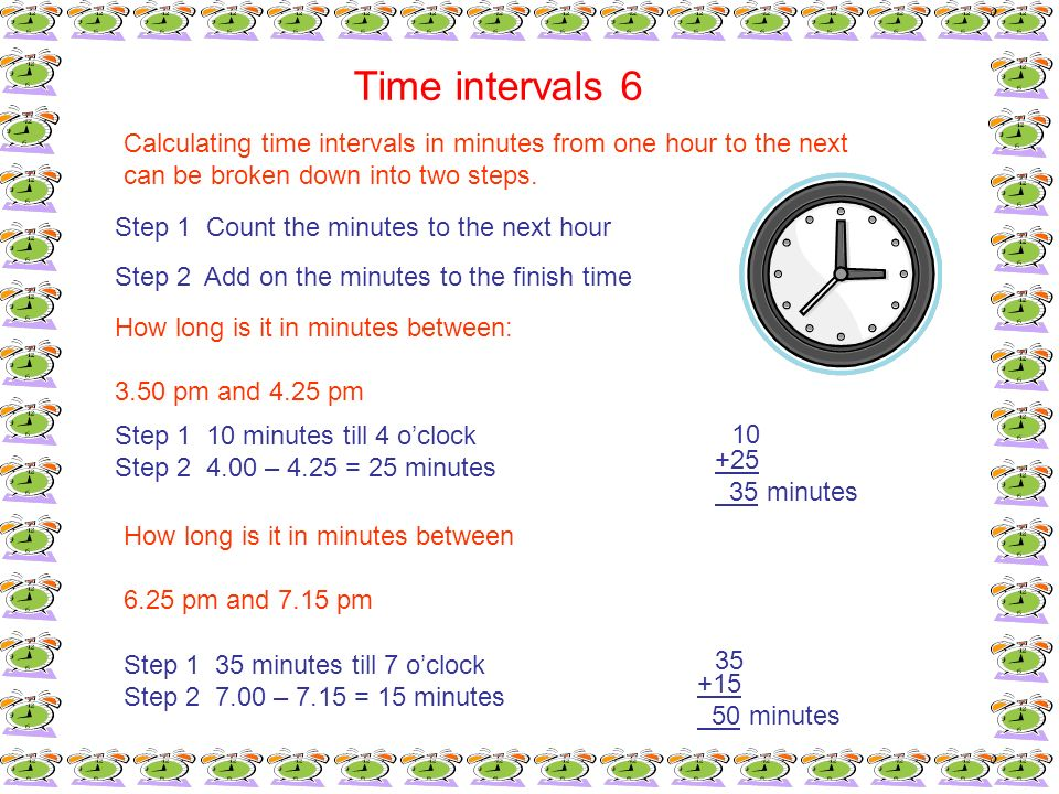 Time intervals 6Calculating time intervals in minutes from one hour to the next. can be broken down into two steps.