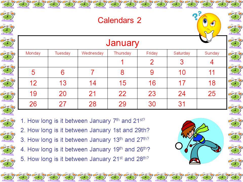 Calendars 2 January. Monday. Tuesday. Wednesday. Thursday. Friday. Saturday. Sunday. 1. 2.