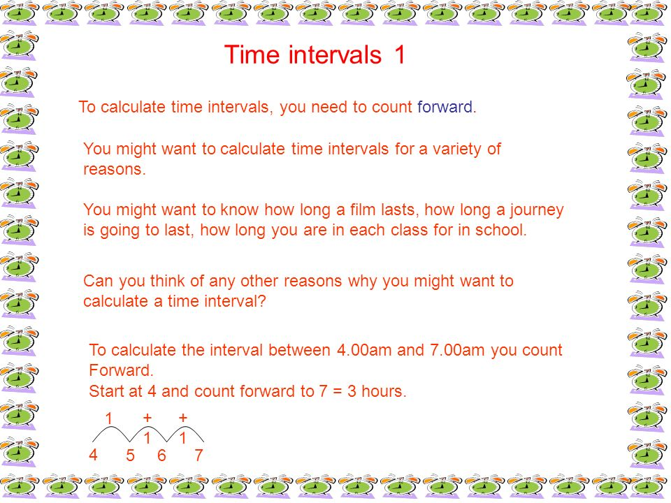 Time intervals 1To calculate time intervals, you need to count forward. You might want to calculate time intervals for a variety of.