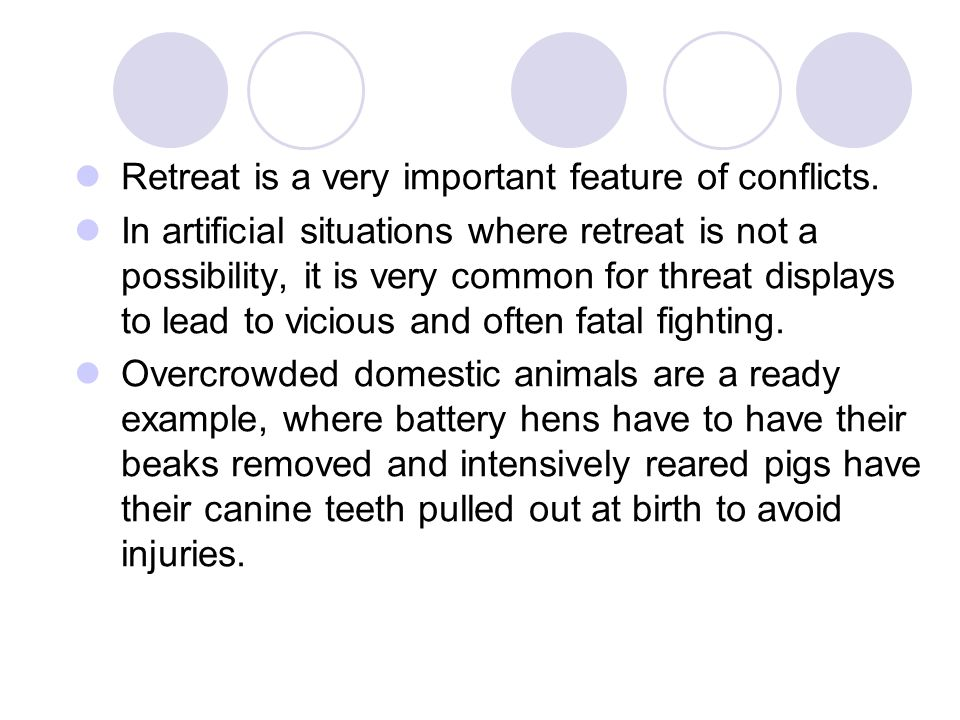 Retreat is a very important feature of conflicts.