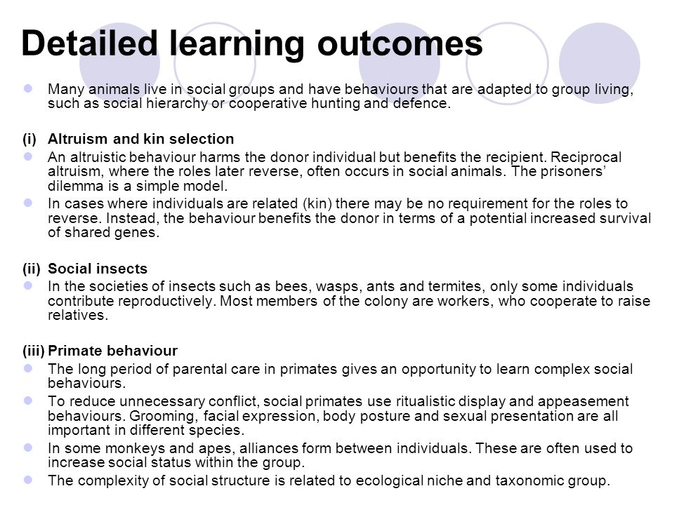Detailed learning outcomes