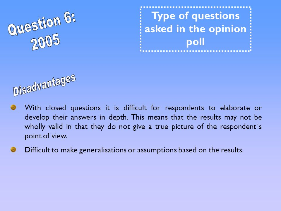 Type of questions asked in the opinion poll