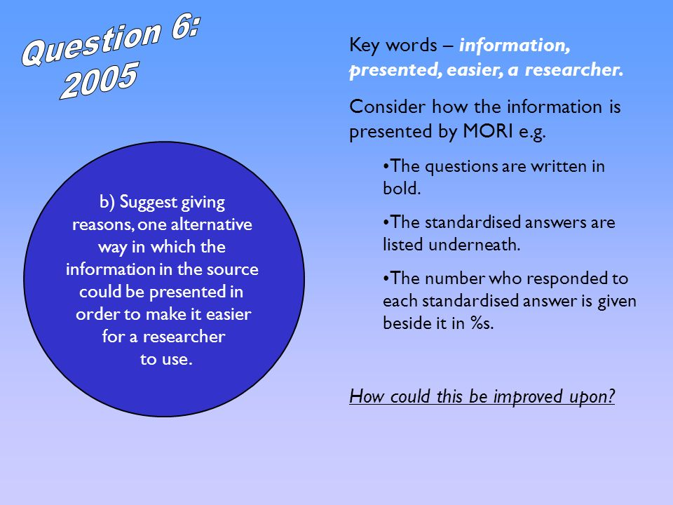 Question 6: 2005. Key words – information, presented, easier, a researcher. Consider how the information is presented by MORI e.g.