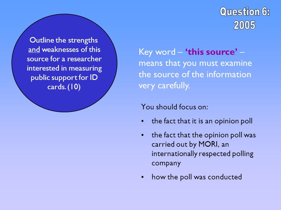 Question 6: 2005. Outline the strengths. and weaknesses of this. source for a researcher. interested in measuring.