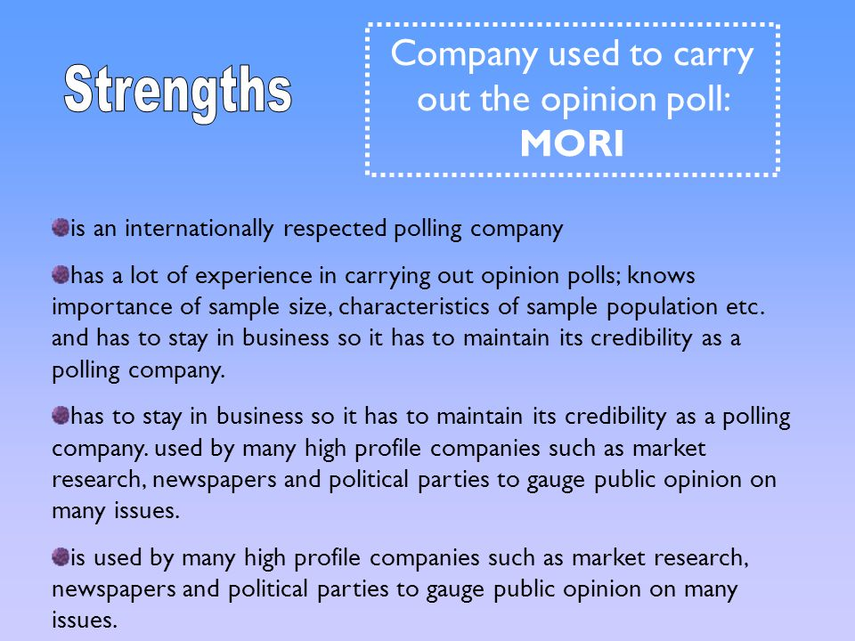 Company used to carry out the opinion poll: MORI