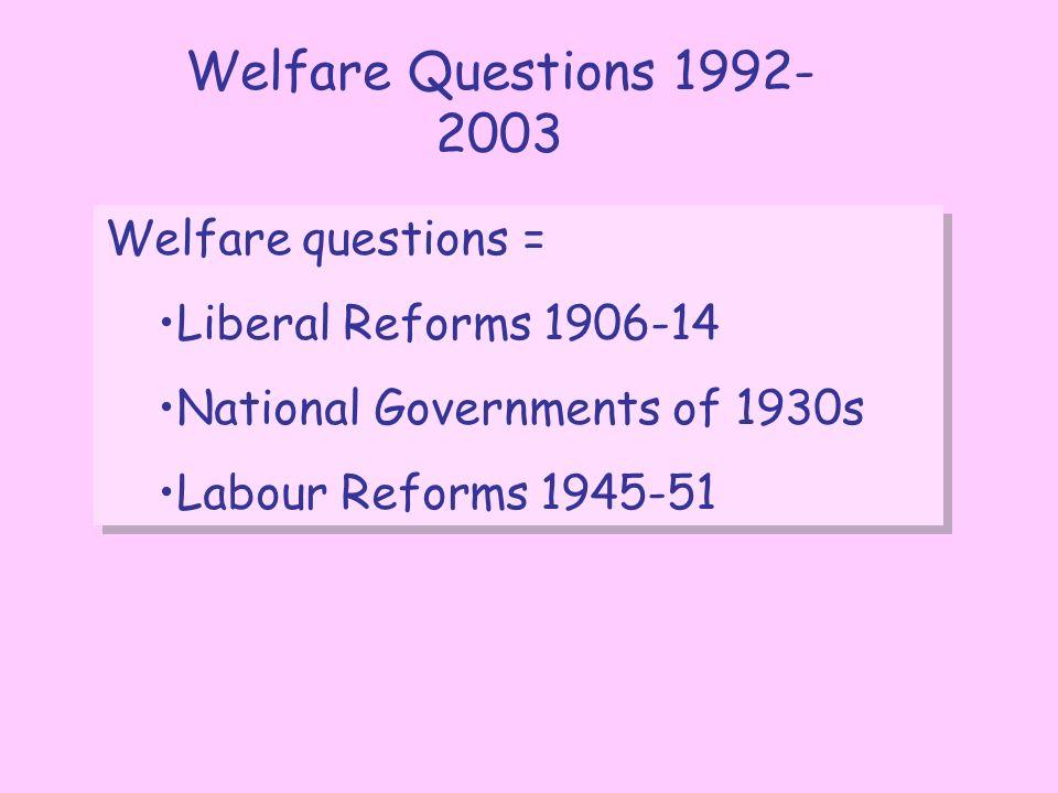 Welfare Questions 1992-2003 Welfare questions =