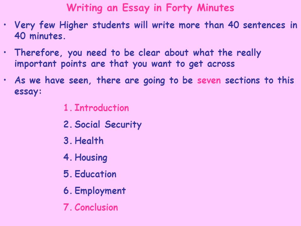Writing an Essay in Forty Minutes