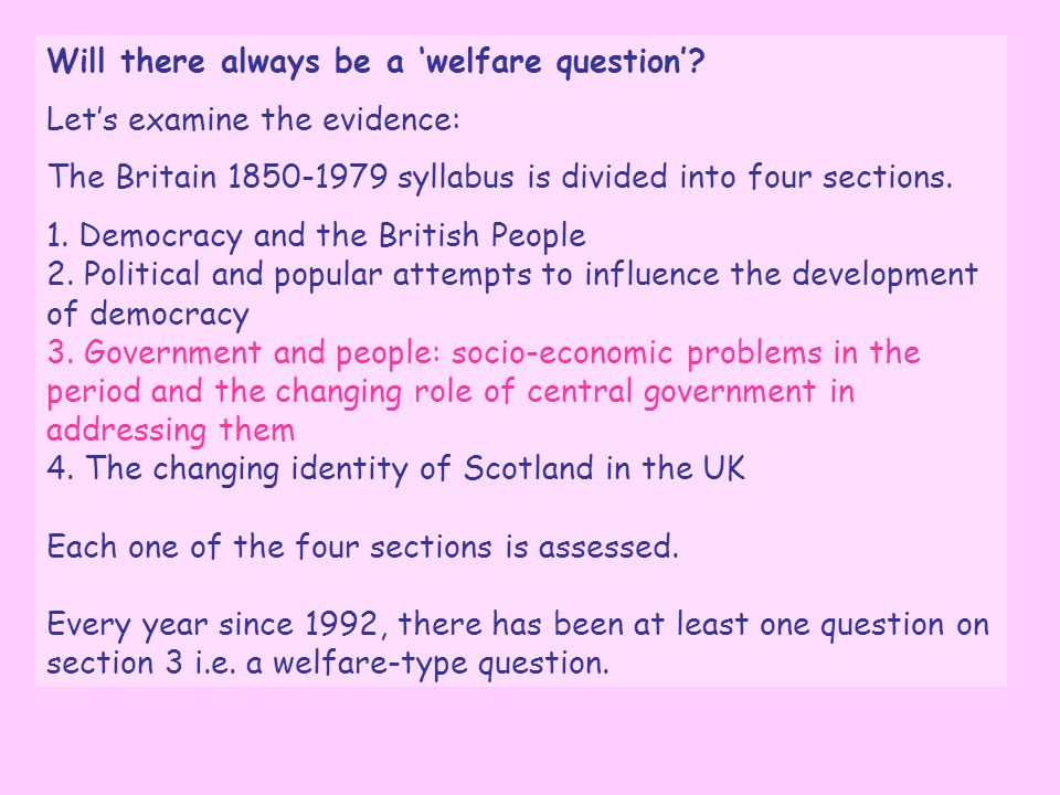 Will there always be a 'welfare question'