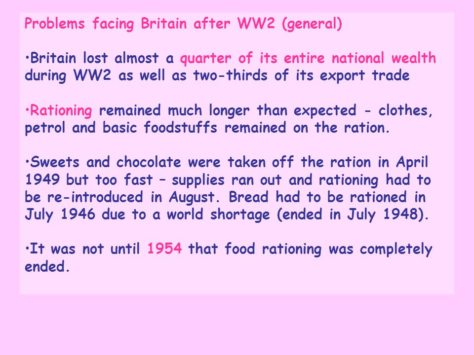 Problems facing Britain after WW2 (general)
