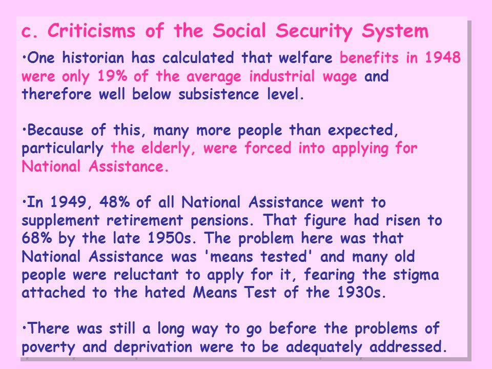 c. Criticisms of the Social Security System