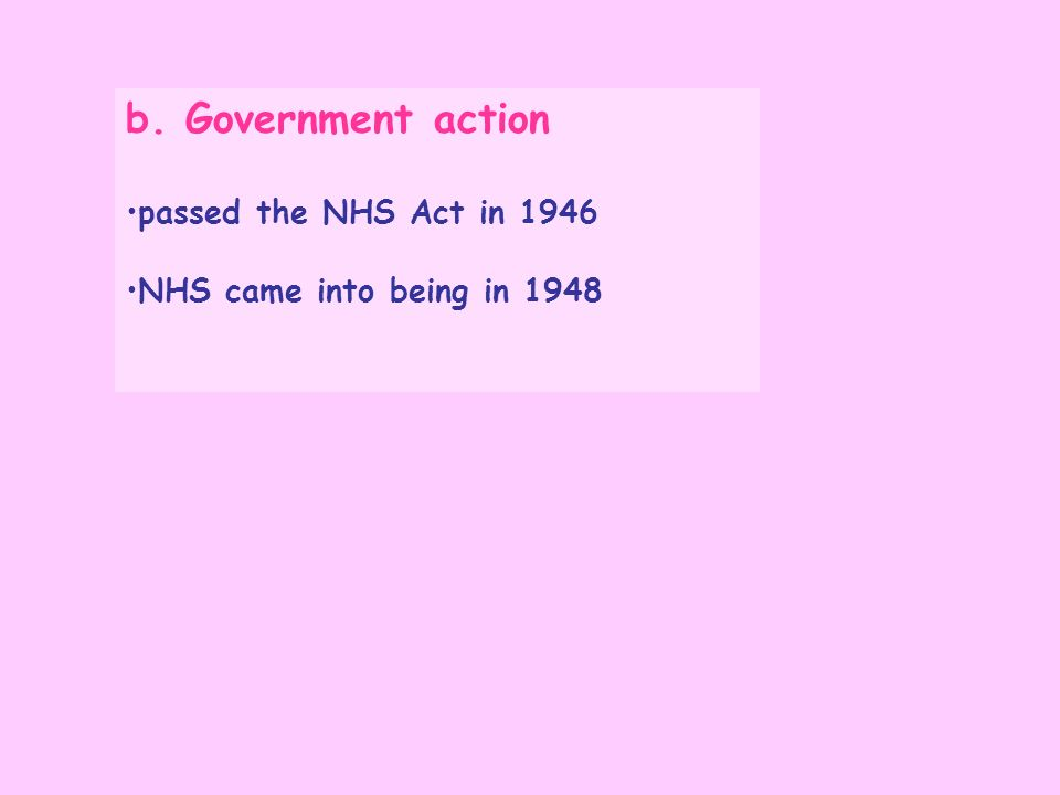 b. Government action passed the NHS Act in 1946